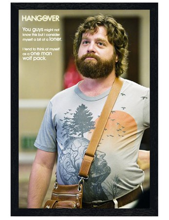Black Wooden Framed A One Man Wolf Pack - Zach Galifianakis is Alan in The Hangover