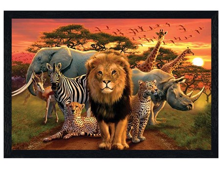 Black Wooden Framed African Kingdom - Safari
