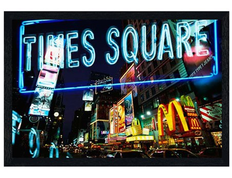 Black Wooden Framed Neon Lights in Times Square - New York City
