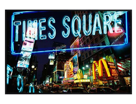 Gloss Black Framed Neon Lights in Times Square, New York