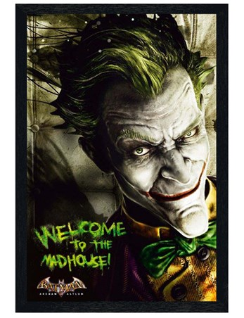 Black Wooden Framed Welcome to the Madhouse! - Batman The Joker