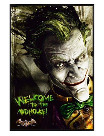 Gloss Black Framed Welcome to the Madhouse! - Arkham Asylum
