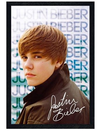 Black Wooden Framed Sideways Glance - Justin Bieber