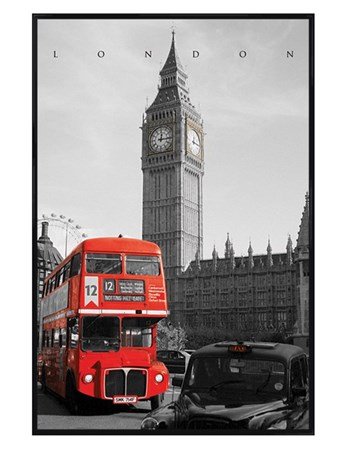 Gloss Black Framed Driving Past Big Ben - London Bus