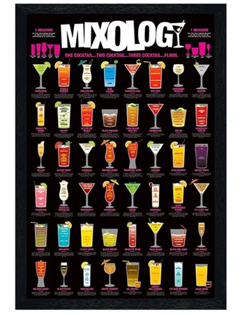 Black Wooden Framed One Cocktail...Two Cocktail...Three Cocktail...Floor! Framed Poster