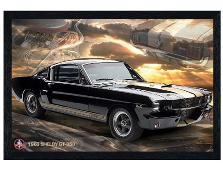 Black Wooden Framed Ford Shelby - Mustang 66 GT 350
