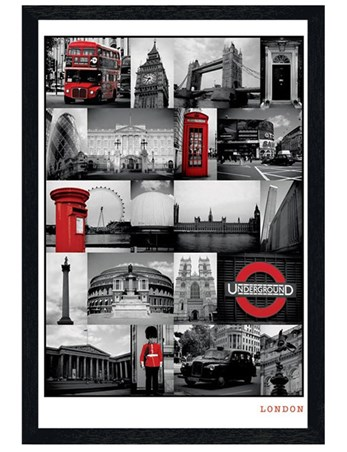 Black Wooden Framed The Iconic Images of London Framed Poster
