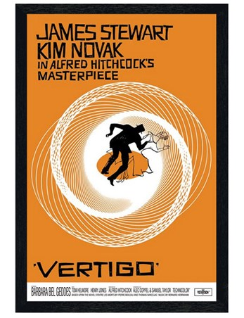 Black Wooden Framed Vertigo - James Stewart and Kim Novak Cult Classic
