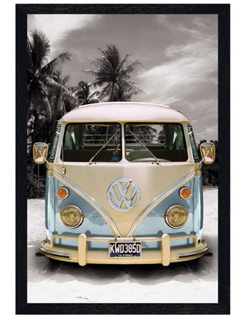Black Wooden Framed Californian Camper Van - VW on the Beach