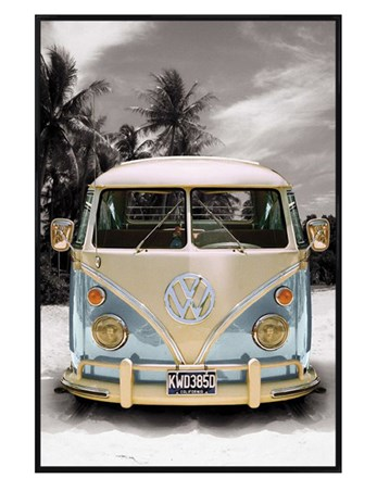 Gloss Black Framed Californian Camper Van - VW on the Beach