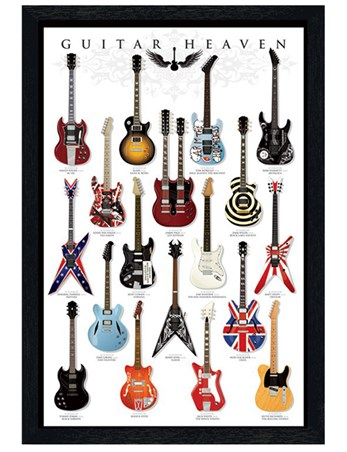 Black Wooden Framed Guitar Mania, A Collector's Paradise