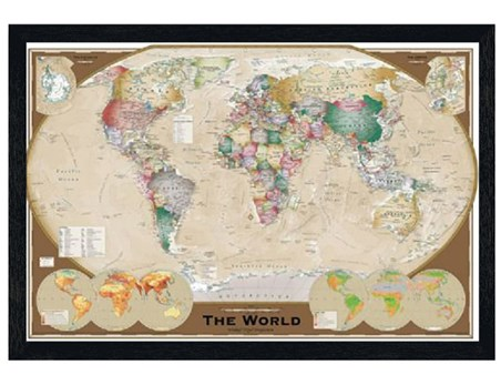 Black Wooden Framed The World in Triplicate - World Map