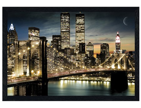 Framed Black Wooden Framed Twinkling Lights - Manhattan, New York City
