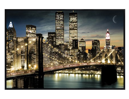 Framed Gloss Black Framed Twinkling Lights - Manhattan, New York