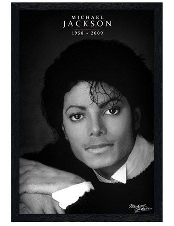 Black Wooden Framed Black and White Portrait - Michael Jackson