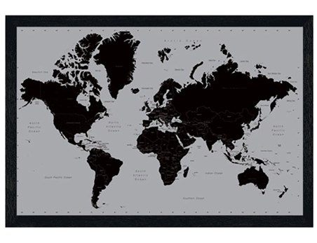 Black Wooden Framed Wonderful World - World Map