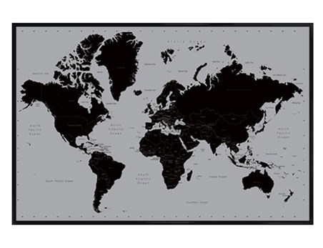 Gloss Black Framed Wonderful World - World Map