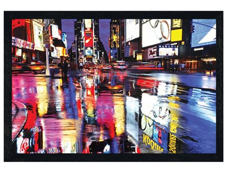 Black Wooden Framed Colourful Reflection - Times Square