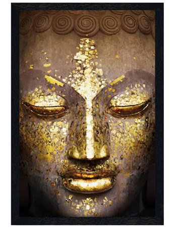 Black Wooden Framed Speckled in Gold - The Face of the Buddha