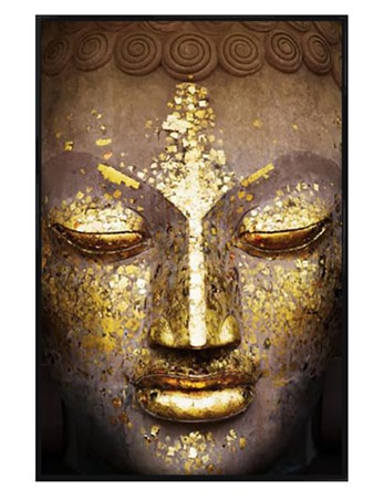 Framed Gloss Black Framed Speckled in Gold - The Face of the Buddha