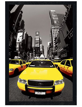 Black Wooden Framed Yellow Cabs - New York City