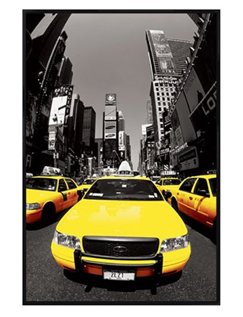 Gloss Black Framed Yellow Cabs - New York City