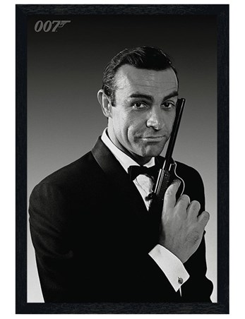 Black Wooden Framed Sean Connery is James Bond - The Name's Bond... James Bond