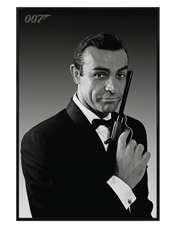 Gloss Black Framed Sean Connery is James Bond - The Name's Bond... James Bond