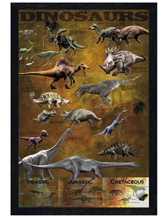 Black Wooden Framed Dinosaurs from the Triassic, Jurassic and Cretaceo Framed Poster