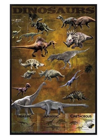 Gloss Black Framed Dinosaurs from the Triassic, Jurassic and Cretaceo - Educational