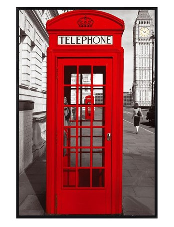 Gloss Black Framed Red Telephone Box - English Iconography