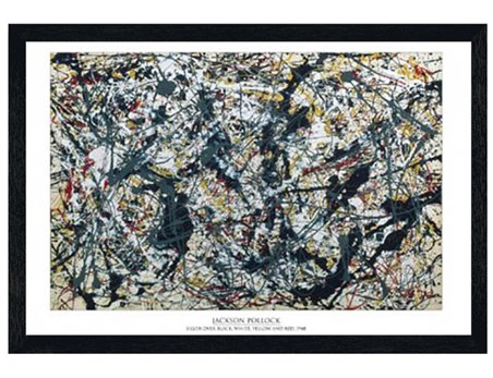 Black Wooden Framed Silver on Black - By Jackson Pollock