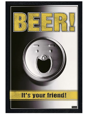 Black Wooden Framed Beer - It's Your Friend! - Smiling Can of Booze