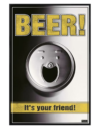 Gloss Black Framed Beer - It's Your Friend! - Smiling Can of Booze