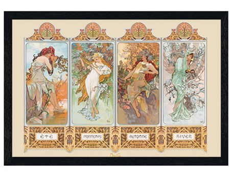 Black Wooden Framed Seasons, 1896 - By Alphonse Marie Mucha