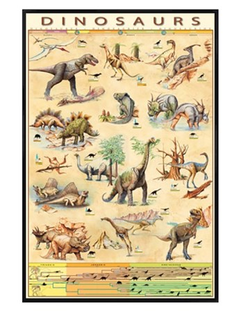 Gloss Black Framed Dinosaurs Species - Jurassic Age Timeline
