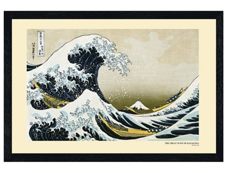Black Wooden Framed The Great Wave off Kanagawa, 1831-33 - Katsushika Hokusai
