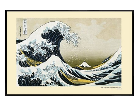 Gloss Black Framed The Great Wave of Kanagawa 1831-33 - Katsushika Hokusai