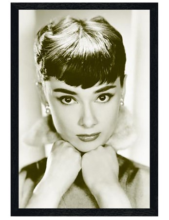 Black Wooden Framed Close-up, Audrey Hepburn