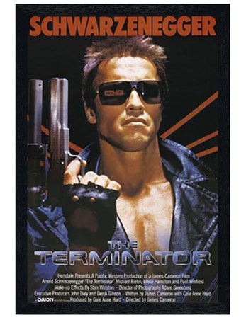 Black Wooden Framed Arnold Schwarzenegger is The Terminator Framed Poster