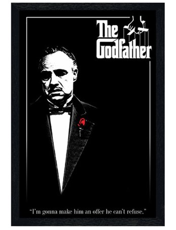 Black Wooden Framed Don Vito Corleone with a Red Rose - The Godfather
