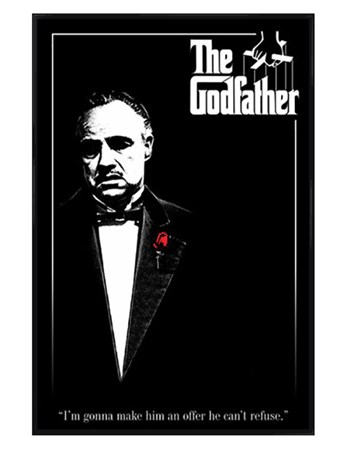 Gloss Black Framed Don Vito Corleone with a Red Rose - The Godfather