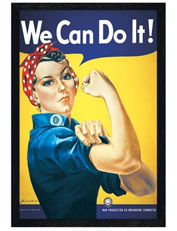 Black Wooden Framed We Can Do It Framed Poster