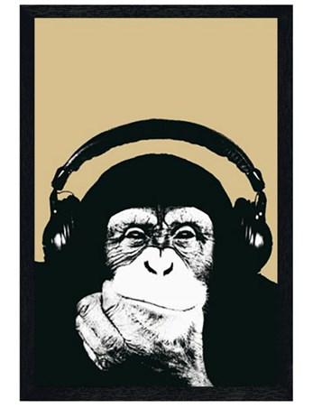 Black Wooden Framed Monkey with Headphones Framed Poster