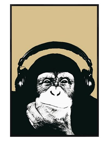 Gloss Black Framed Monkey with Headphones - Steez