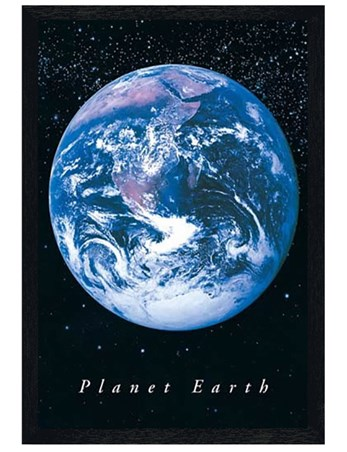 Black Wooden Framed Planet Earth - Earth from Space