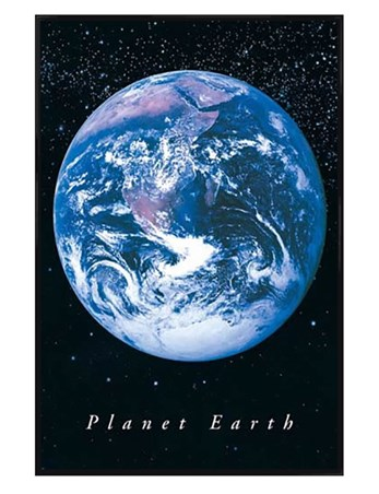 Gloss Black Framed Planet Earth - Earth from Space