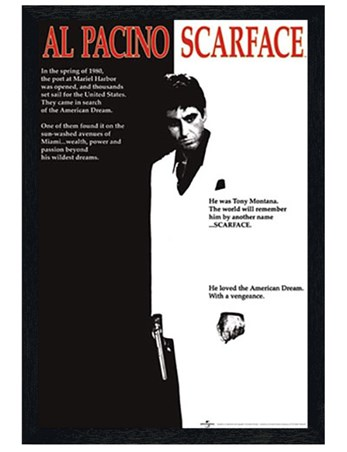 Black Wooden Framed Scarface Movie Score - Al Pacino - Scarface
