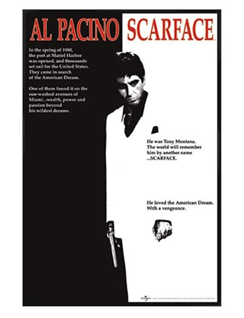 Gloss Black Framed Scarface Movie Score - Al Pacino - Scarface