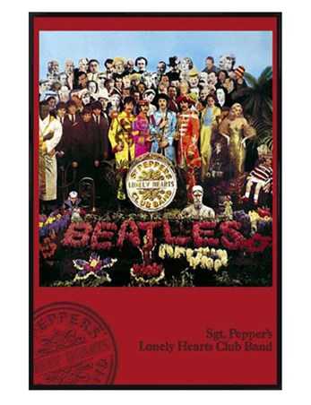 Gloss Black Framed Sgt. Pepper's Lonely Hearts Club Band Album Cover - The Beatles
